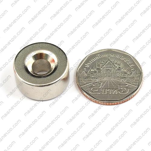 แม่เหล็กแรงสูง Neodymium ขนาด 19.50mm x 9.75mm วงใน 6mm แม่เหล็กถาวรนีโอไดเมี่ยม NdFeB (Neodymium)