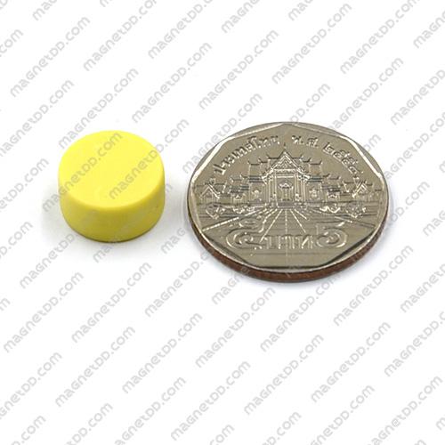 แม่เหล็กแรงสูง หุ้มพลาสติก กันน้ำ ขนาด 12.7mm x 6.2mm - สีเหลือง แม่เหล็กถาวรนีโอไดเมี่ยม NdFeB (Neodymium)