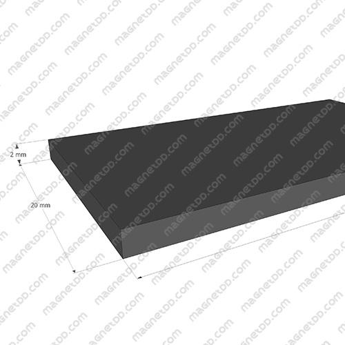 แม่เหล็กยาง ขนาด 20mm x 2mm ยาว 10เมตร - ยกม้วน แม่เหล็กถาวรยาง Flexible Rubber Magnets