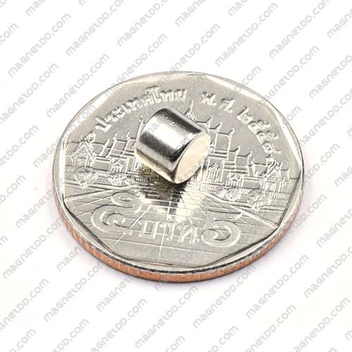 แม่เหล็กแรงสูง Neodymium ขนาด 6mm x 5mm - เกรด B แม่เหล็กถาวรนีโอไดเมี่ยม NdFeB (Neodymium)