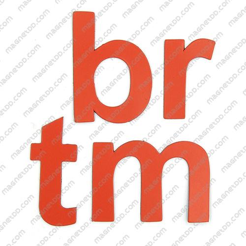 แม่เหล็กยาง ตัวอักษร อังกฤษพิมพ์เล็ก a-z ขนาด 38mm ชุด 26 ชิ้น - สีแดง แม่เหล็กถาวรยาง Flexible Rubber Magnets