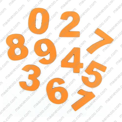แม่เหล็กยาง ตัวเลข 0-9 สูง 22mm ชุด 10ชิ้น – สีส้ม แม่เหล็กถาวรยาง Flexible Rubber Magnets