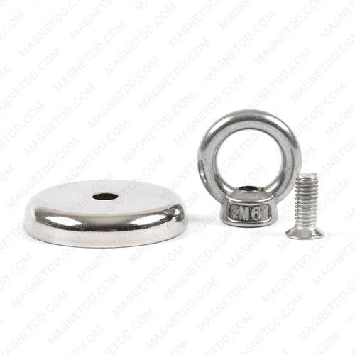 Mounting Magnet ขนาด 42mm x 7.70mm รู 6.5mm พร้อมห่วงสแตนเลส แม่เหล็กถาวรนีโอไดเมี่ยม NdFeB (Neodymium)