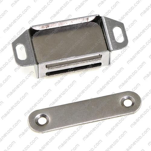 ชุดสลักสัมผัสแม่เหล็ก สแตนเลส 35mm x 22mm x 14mm แม่เหล็กถาวรเฟอร์ไรท์ (แม่เหล็กดำ) Ferrite