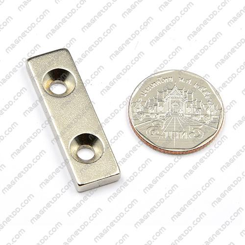 แม่เหล็กแรงสูง สี่เหลี่ยม 2 รู ขนาด 39mm x 11.5mm x 3.75mm รู 4mm แม่เหล็กถาวรนีโอไดเมี่ยม NdFeB (Neodymium)