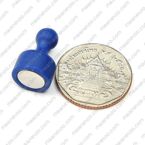 พินแม่เหล็กแรงสูง Magnetic Push Pins 12mm x 20mm สีน้ำเงิน แม่เหล็กถาวรนีโอไดเมี่ยม NdFeB (Neodymium)