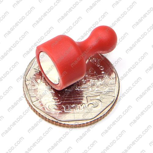 พินแม่เหล็กแรงสูง Magnetic Push Pins 12mm x 20mm สีแดง แม่เหล็กถาวรนีโอไดเมี่ยม NdFeB (Neodymium)