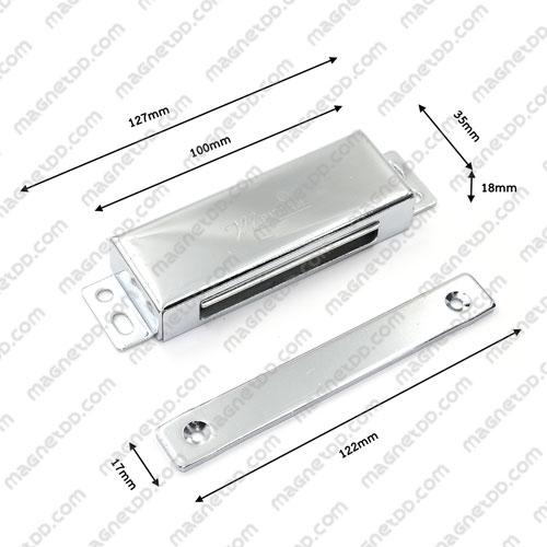 ชุดสลักสัมผัสแม่เหล็ก Meitian สแตนเลส 100mm x 35mm x 18mm แม่เหล็กถาวรเฟอร์ไรท์ (แม่เหล็กดำ) Ferrite