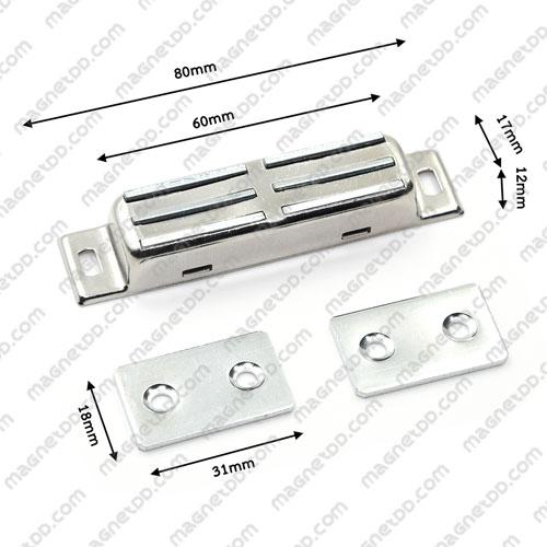 ชุดสลักสัมผัสแม่เหล็ก สแตนเลส 60mm x 17mm x 12mm แม่เหล็กถาวรเฟอร์ไรท์ (แม่เหล็กดำ) Ferrite