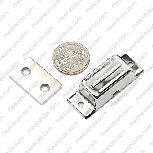 ชุดสลักสัมผัสแม่เหล็ก สแตนเลส 34mm x 18mm x 12mm แม่เหล็กถาวรเฟอร์ไรท์ (แม่เหล็กดำ) Ferrite