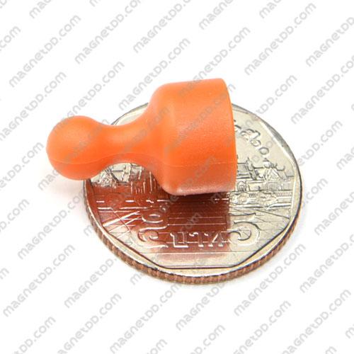 พินแม่เหล็กแรงสูง Magnetic Push Pins 12mm x 20mm สีส้ม แม่เหล็กถาวรนีโอไดเมี่ยม NdFeB (Neodymium)
