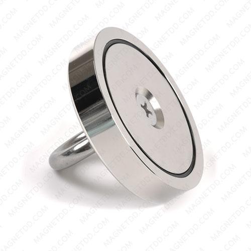 Mounting Magnet ขนาด 100mm x 20mm รู 12mm พร้อมห่วงสแตนเลส แม่เหล็กถาวรนีโอไดเมี่ยม NdFeB (Neodymium)