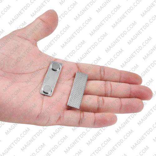 ชุดแม่เหล็ก ติดป้ายชื่อ ฐานโลหะ 45mm x 13mm พร้อมกาว 2 หน้า แม่เหล็กถาวรนีโอไดเมี่ยม NdFeB (Neodymium)