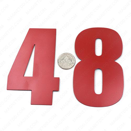 แม่เหล็กยาง ตัวเลข 0-9 สูง 120mm ชุด 10ชิ้น - สีแดง แม่เหล็กถาวรยาง Flexible Rubber Magnets