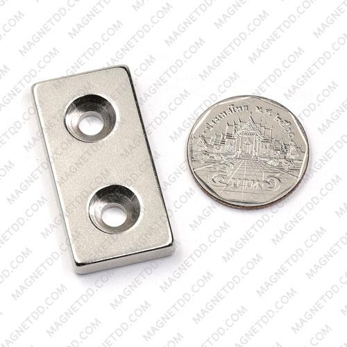 แม่เหล็กแรงสูง Neodymium ขนาด 40mm x 20mm x 5mm รู 5mm แม่เหล็กถาวรนีโอไดเมี่ยม NdFeB (Neodymium)