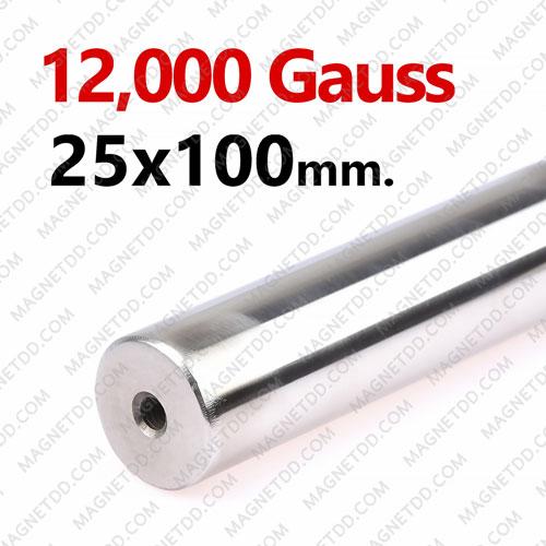 แมกเนติกบาร์ ขนาด 25mm x 100mm Magnetic Bar 12000G รู M6 แม่เหล็กถาวรนีโอไดเมี่ยม NdFeB (Neodymium)