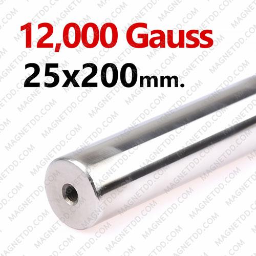 แมกเนติกบาร์ ขนาด 25mm x 200mm Magnetic Bar 12000G รู M6 แม่เหล็กถาวรนีโอไดเมี่ยม NdFeB (Neodymium)