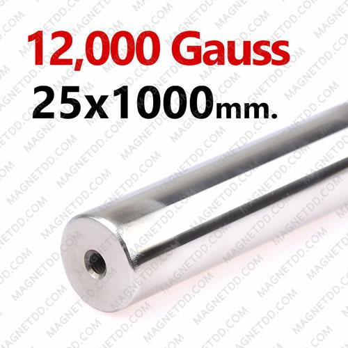 แมกเนติกบาร์ ขนาด 25mm x 1000mm Magnetic Bar 12000G รู M6 แม่เหล็กถาวรนีโอไดเมี่ยม NdFeB (Neodymium)