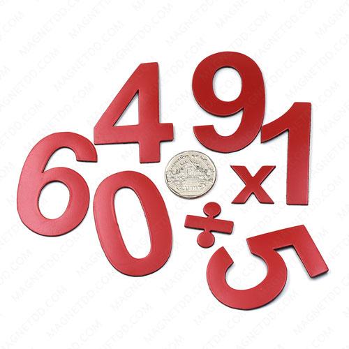แม่เหล็กยาง ตัวเลข 0-9 บวก ลบคูณ หาร สูง 52mm ชุด 15ชิ้น - สีแดง แม่เหล็กถาวรยาง Flexible Rubber Magnets