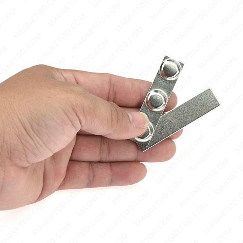 ชุดแม่เหล็ก ติดป้ายชื่อ ฐานโลหะ 60mm x 14mm พร้อมกาว 2หน้า แม่เหล็กถาวรนีโอไดเมี่ยม NdFeB (Neodymium)