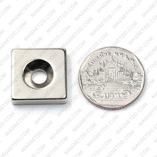 แม่เหล็กแรงสูง Neodymium 20mm x 20mm x 5mm รู 5.5mm แม่เหล็กถาวรนีโอไดเมี่ยม NdFeB (Neodymium)