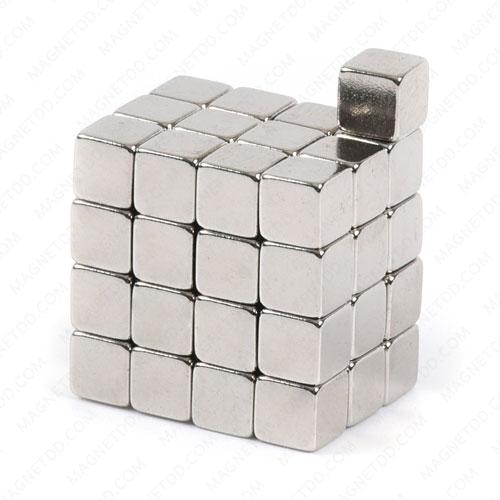 แม่เหล็กแรงสูง สี่เหลี่ยมลูกบาศก์ 4.75mm x 4.75mm x 4.75mm แม่เหล็กถาวรนีโอไดเมี่ยม NdFeB (Neodymium)