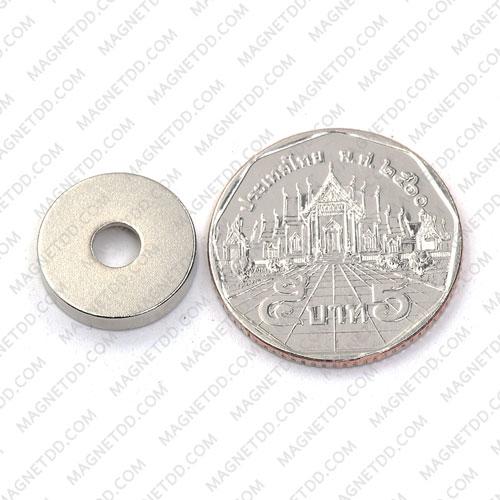 แม่เหล็กแรงสูง Neodymium 15mm x 3mm วงใน 4.5mm แม่เหล็กถาวรนีโอไดเมี่ยม NdFeB (Neodymium)