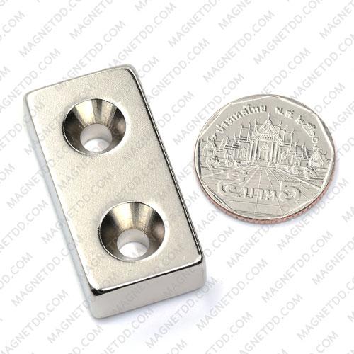 แม่เหล็กแรงสูง Neodymium 40mm x 20mm x 10mm รู 5mm แม่เหล็กถาวรนีโอไดเมี่ยม NdFeB (Neodymium)
