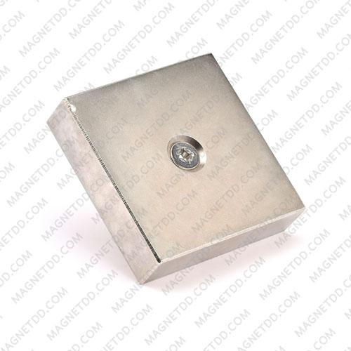 แม่เหล็กแรงสูง Neodymium 95mm x 95mm x 24mm รู 10mm แม่เหล็กถาวรนีโอไดเมี่ยม NdFeB (Neodymium)