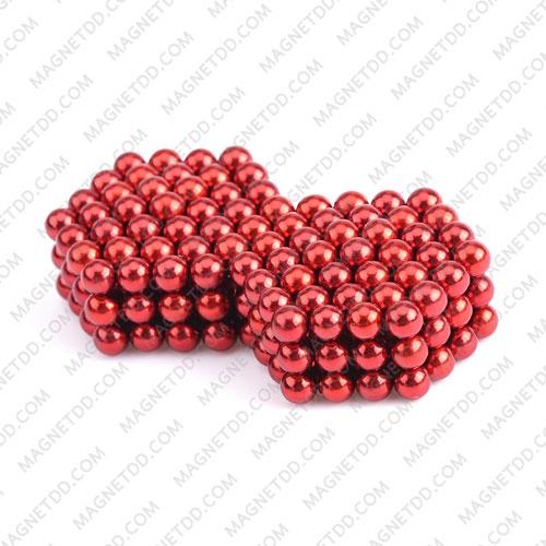 ลูกบอลแม่เหล็กแรงสูง Magnet Ball 5mm - สีแดง ชุด 108 ชิ้น แม่เหล็กถาวรนีโอไดเมี่ยม NdFeB (Neodymium)