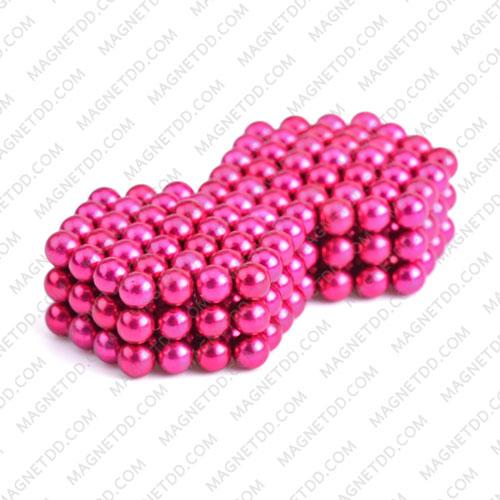 ลูกบอลแม่เหล็กแรงสูง Magnet Ball 5mm - สีชมพู ชุด 108 ชิ้น แม่เหล็กถาวรนีโอไดเมี่ยม NdFeB (Neodymium)