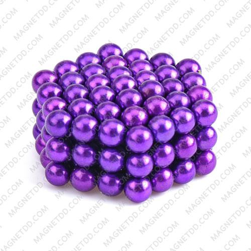 ลูกบอลแม่เหล็กแรงสูง Magnet Ball 5mm - สีม่วง ชุด 108 ชิ้น แม่เหล็กถาวรนีโอไดเมี่ยม NdFeB (Neodymium)