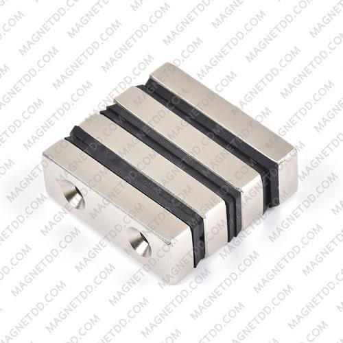 แม่เหล็กแรงสูง Neodymium ขนาด 60mm x 20mm x 10mm รู 5.5mm แม่เหล็กถาวรนีโอไดเมี่ยม NdFeB (Neodymium)