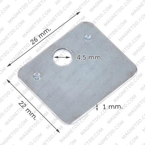 แผ่นเหล็ก Steel plate ขนาด 26mmx 22mm x 1mm รู 4.5mm