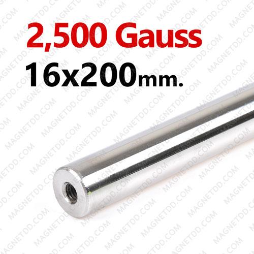 แมกเนติกบาร์ ขนาด 16mm x 200mm Magnetic Bar 2500G รู M6 แม่เหล็กถาวรนีโอไดเมี่ยม NdFeB (Neodymium)