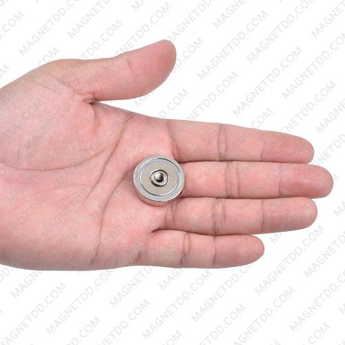 พอทแม็กเน็ตแรงสูง ขนาด 25mm x 7.7mm พร้อมเกลียวใน M5 แม่เหล็กถาวรนีโอไดเมี่ยม NdFeB (Neodymium)