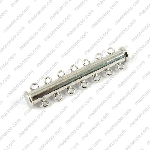 ข้อต่อแม่เหล็กแรงสูง ทรงกระบอก สไลด์ 7ห่วง 6mm x 40mm แม่เหล็กถาวรนีโอไดเมี่ยม NdFeB (Neodymium)