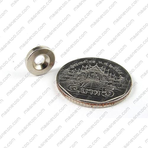 แม่เหล็กแรงสูง Neodymium โดนัท ขนาด 10mm x 2mm วงใน 3mm แม่เหล็กถาวรนีโอไดเมี่ยม NdFeB (Neodymium)