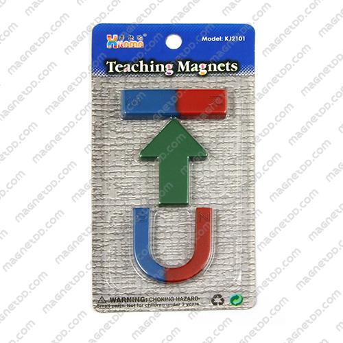 ชุดแม่เหล็กเพื่อการศึกษา 3ชิ้น Teaching Magnet - ลูกศร แม่เหล็กถาวรเฟอร์ไรท์ (แม่เหล็กดำ) Ferrite