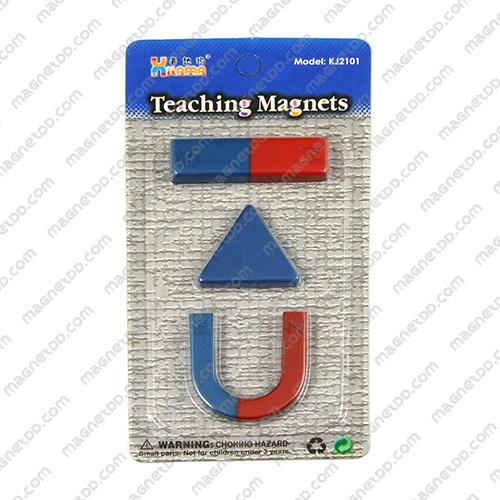 ชุดแม่เหล็กเพื่อการศึกษา 3ชิ้น Teaching Magnet - สามเหลี่ยม แม่เหล็กถาวรเฟอร์ไรท์ (แม่เหล็กดำ) Ferrite