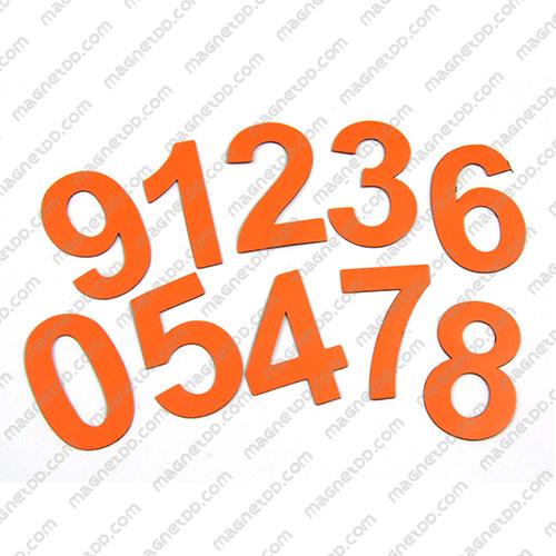 แม่เหล็กยาง ตัวเลข 0-9 สูง 52mm 10ชิ้น - สีส้ม แม่เหล็กถาวรยาง Flexible Rubber Magnets