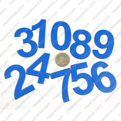 แม่เหล็กยาง ตัวเลข 0-9 สูง 52mm 10ชิ้น - สีน้ำเงิน แม่เหล็กถาวรยาง Flexible Rubber Magnets