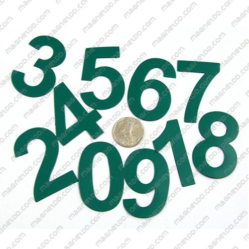 แม่เหล็กยาง ตัวเลข 0-9 สูง 52mm ชุด 10ชิ้น - สีเขียว แม่เหล็กถาวรยาง Flexible Rubber Magnets