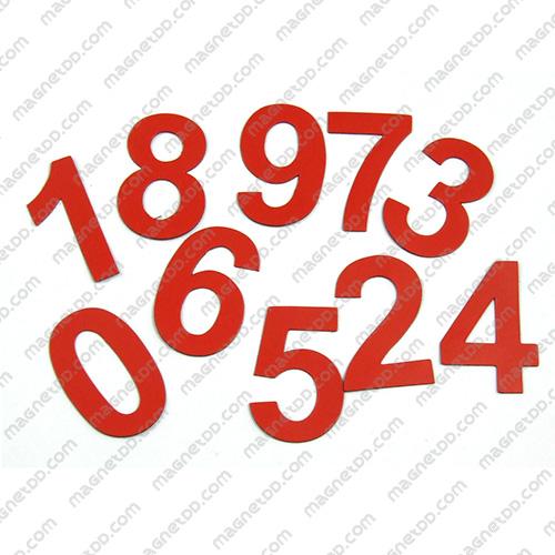 แม่เหล็กยาง ตัวเลข 0-9 สูง 52mm ชุด 10ชิ้น - สีแดง แม่เหล็กถาวรยาง Flexible Rubber Magnets