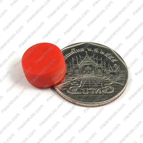 แม่เหล็กแรงสูง หุ้มพลาสติก กันน้ำ ขนาด 12.7mm x 6.2mm - สีแดง แม่เหล็กถาวรนีโอไดเมี่ยม NdFeB (Neodymium)
