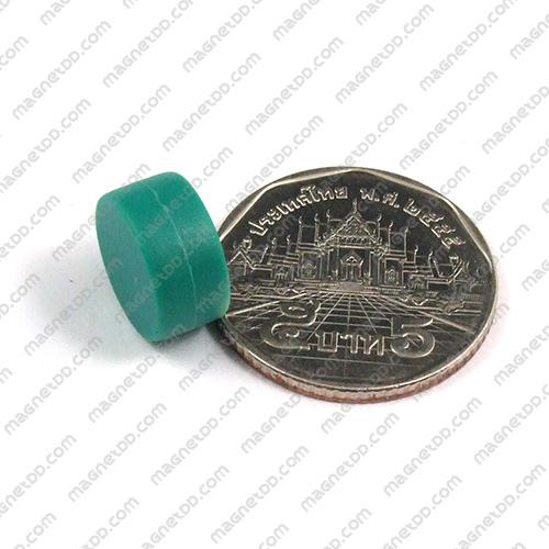 แม่เหล็กแรงสูง หุ้มพลาสติก กันน้ำ ขนาด 12.7mm x 6.2mm - เขียว แม่เหล็กถาวรนีโอไดเมี่ยม NdFeB (Neodymium)