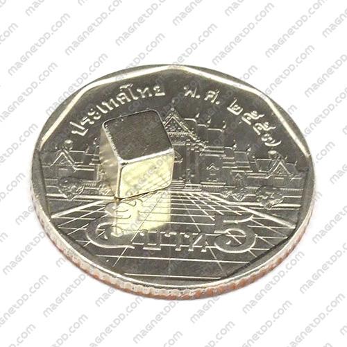 แม่เหล็กแรงสูง สี่เหลี่ยมลูกบาศก์ 5mm x 5mm x 5mm - เกรด B แม่เหล็กถาวรนีโอไดเมี่ยม NdFeB (Neodymium)