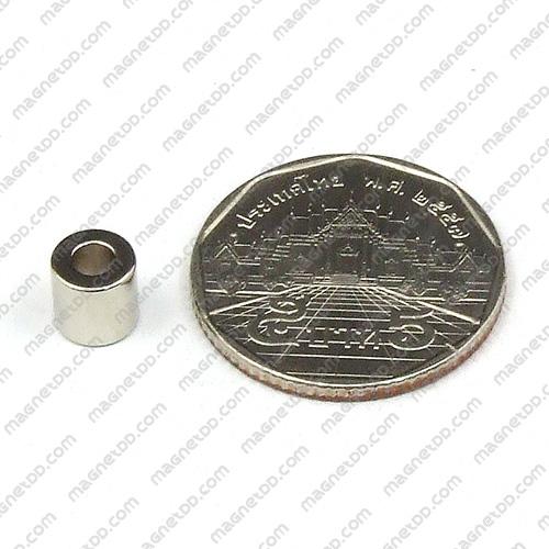 แม่เหล็กแรงสูง Neodymium 6.4mm x 6.4mm วงใน 3.2mm แม่เหล็กถาวรนีโอไดเมี่ยม NdFeB (Neodymium)